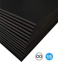Excelsis Design, Pack of 15, Foam Boards (Acid-Free), 22x28 Inches (Many Sizes Available), 1/8 Inch Thick Mat, Black with Black Core (Foam Core Backing Boards, Double-Sided Sheets)