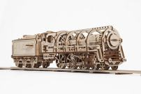 UGears Locomotive with Tender 3D Wooden Model Self Assembling Best Adult and Teens Gift