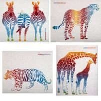 Mixed Colorful Animals Set of 4 Cloths (one of Each Design) Swedish Dishcloths   ECO Friendly Absorbent Cleaning Cloth   Reusable Cleaning Wipes