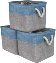Sorbus Cube Storage Bins Basket Set [3-Pack] Big Square Cube Fabric Collapsible Organizer Bin with Cotton Rope Carry Handles for Linens, Toys, Clothes (Woven Rope Basket - Aqua)