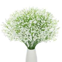 DuHouse 10Pcs Babys Breath Artificial Flowers Fake White Flowers Real Touch Gypsophila Floral in Bulk for Home Wedding Garden Decor (White Long Stem)