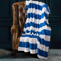 NTBAY Flannel Throw Blankets, Super Soft with Blue and White Striped Printed Bed Blanket, 51 x 68 Inches