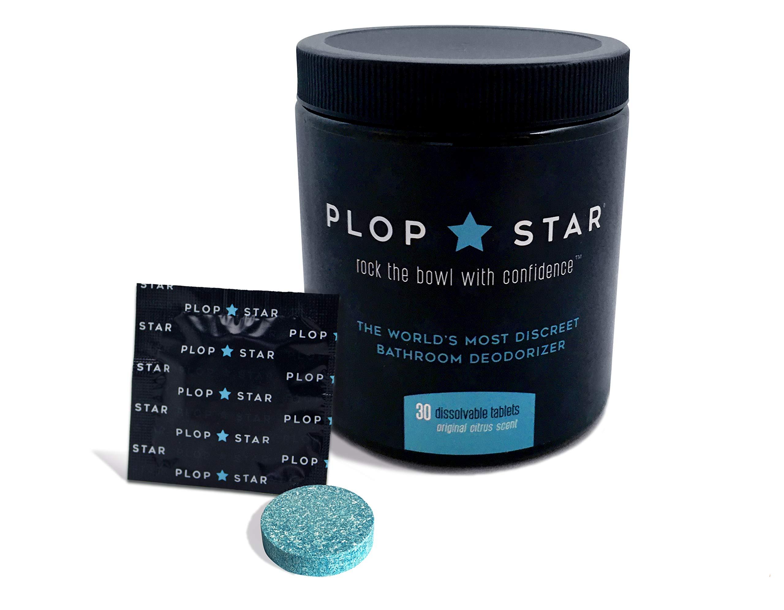 Plop Star   As Seen On Shark Tank   World's Most Discreet Bathroom Deodorizer   Odor Eliminating Toilet Tablets   30 Pack Tub
