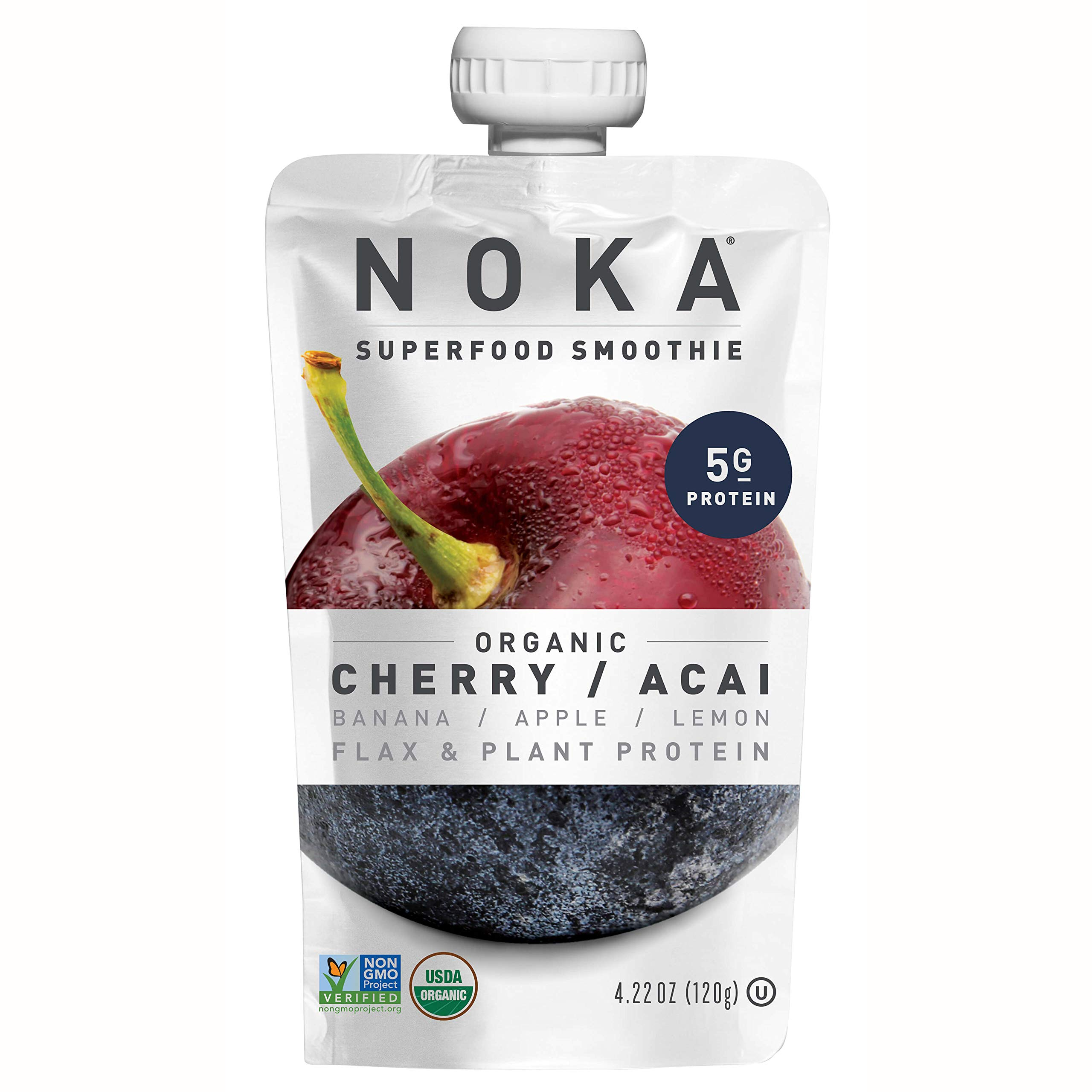 NOKA Superfood Pouches (Cherry Acai) 12 Pack | 100% Organic Fruit And Veggie Smoothie Squeeze Packs | Non GMO, Gluten Free, Vegan, 5g Plant Protein | 4.2oz Each