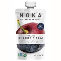 NOKA Superfood Pouches (Cherry Acai) 6 Pack | 100% Organic Fruit And Veggie Smoothie Squeeze Packs | Non GMO, Gluten Free, Vegan, 5g Plant Protein | 4.2oz Each