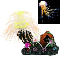 SunKni Christmas Tree Fish Tank Decorations Glowing Aquarium Decorations Ornament Decor Artificial Silicone Coral Plant with Resin Base Fish Hideout, Glow in The Dark Jellyfish