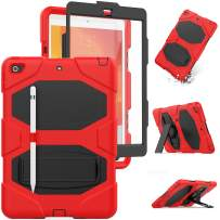 iPad 10.2 2019 Case ,[Built-in Screen Protector] iPad 7th Generation Case ,Hybrid Shockproof Rugged Drop Protection Cover with Stand & Pencil Holder for iPad 7th Generation A2197/A2198/A2200 (Red)