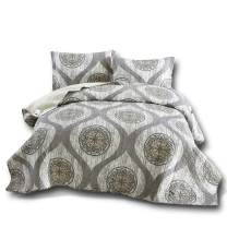 DaDa Bedding Rustic Medallion Bedspread - Distressed Mosaic Classical Reversible Quilted Coverlet Quilt Bedding Set - Cool Toned Multi Charcoal Grey - Queen - 3-Pieces