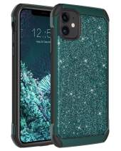 "BENTOBEN iPhone 11 Case, Glitter Sparkle Bling Luxury Shiny Girls Hard Cover,Two Layers Soft Rubber Bumper Rugged Shockproof Protective Phone Case for iPhone 11 6.1"" 2019,Dark Green"