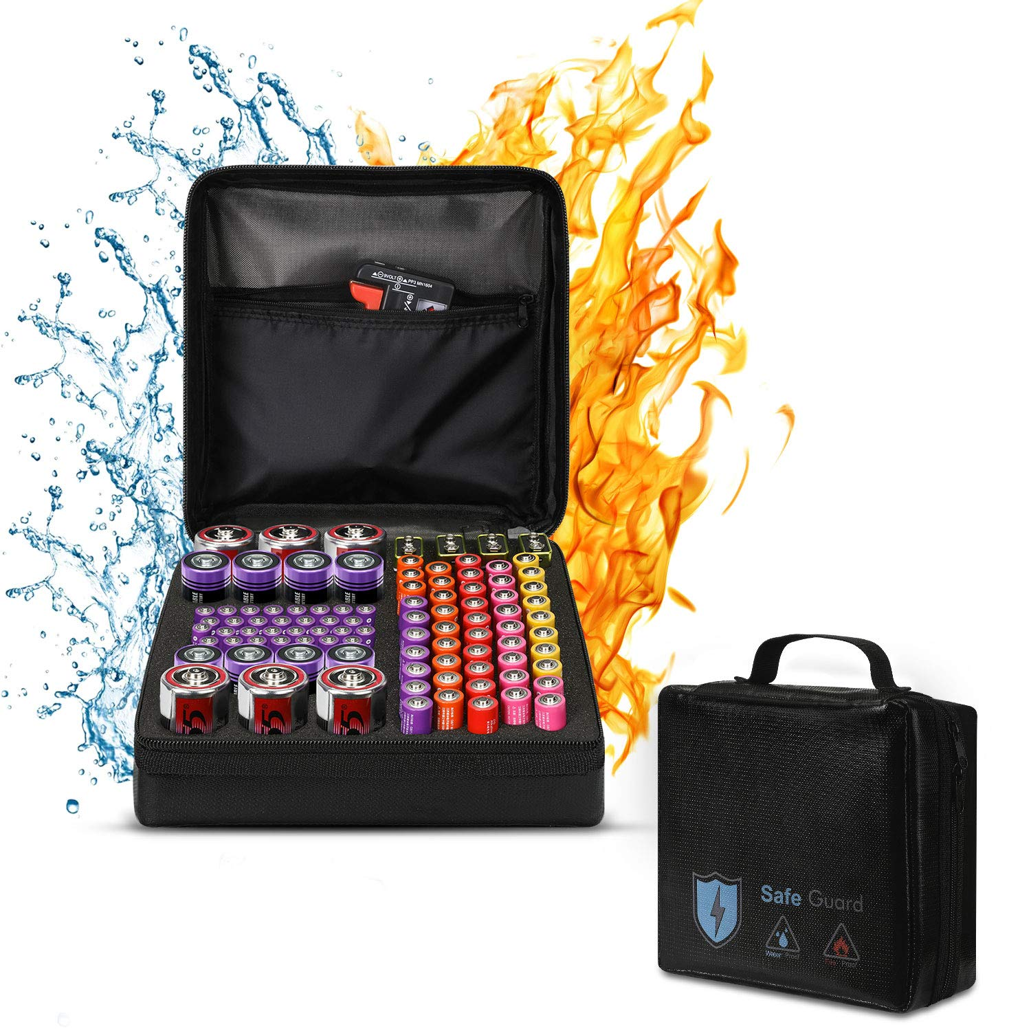 Battery Organizer Storage Fireproof Batteries Carrying case Holder Waterproof Bag Holds C D 9V AA AAA Lithium 3V(Batteries and Battery Tester are Not Included)