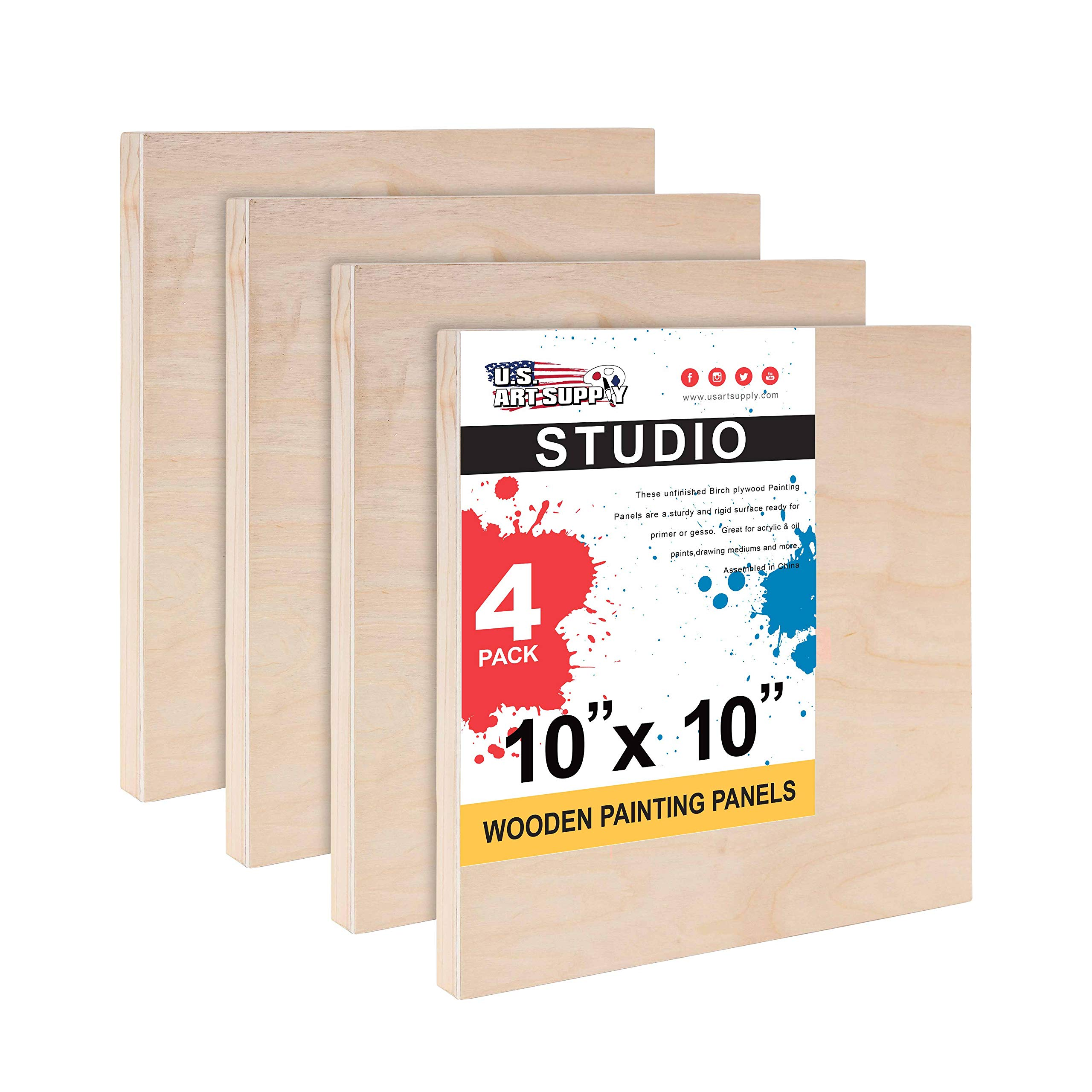 """U.S. Art Supply 10"""" x 10"""" Birch Wood Paint Pouring Panel Boards, Studio 3/4"""" Deep Cradle (Pack of 4) - Artist Wooden Wall Canvases - Painting Mixed-Media Craft, Acrylic, Oil, Watercolor, Encaustic"""