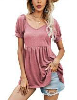 LOMON Women's Casual Puff Short Sleeve Tunic Tops V-Neck Pleated Flare Blouse T-Shirts