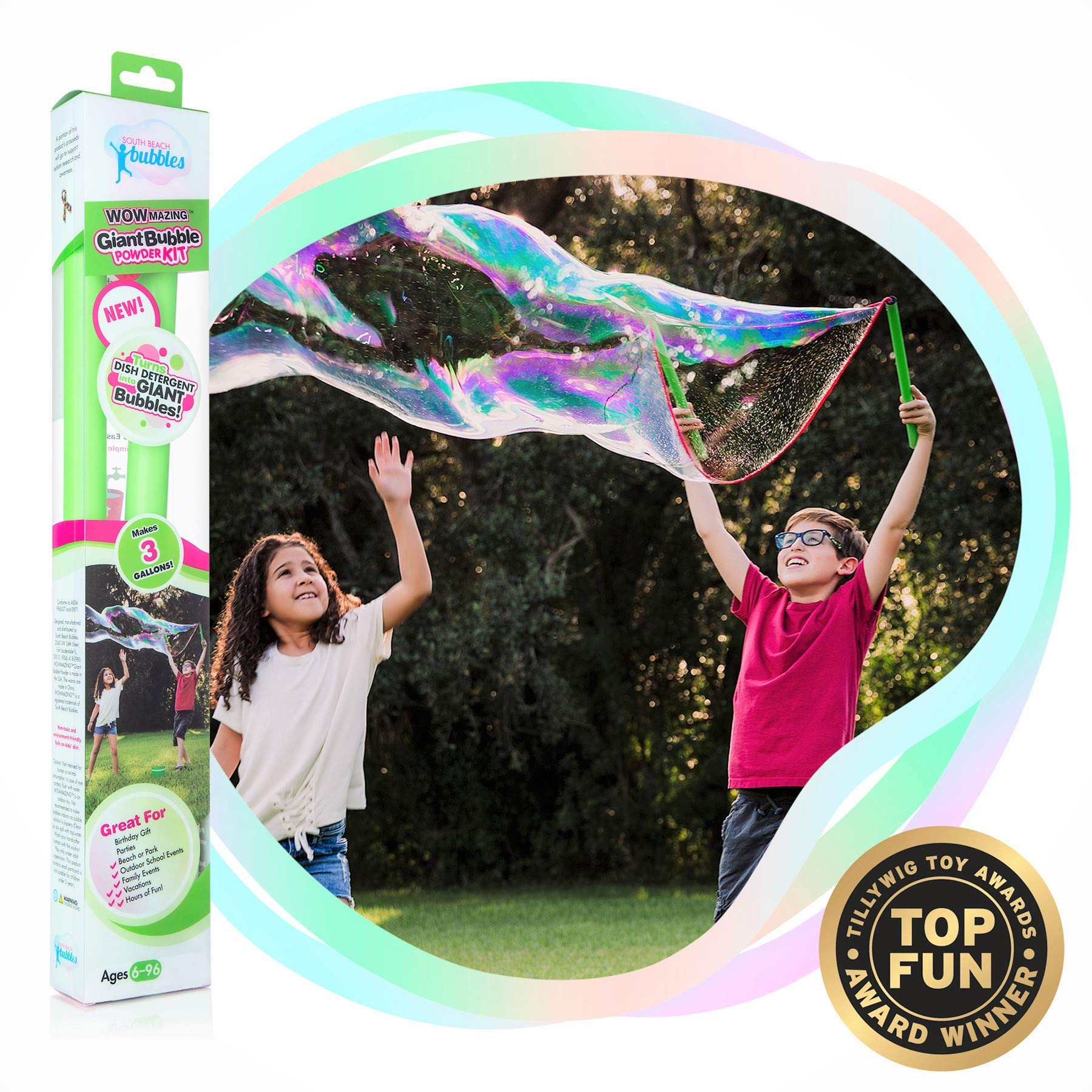 WOWMAZING Giant Bubble Powder Kit: Include Large Bubble Wand and 3 Packet of Big Bubble Powder (Makes 3 Gallons) - Outdoor Toy for Kids, Boys, Girls - Powder Made in USA