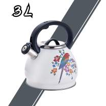 ARC USA 0033B Stainless Steel Whistling Tea Kettle with Heat Resistance Handle, Teapot for Stovetop 3.2 Quart / 3L (3L - White Bird pattern)