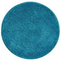 "mDesign Soft Microfiber Polyester Non-Slip Round Spa Mat/Runner, Plush Water Absorbent Accent Rug for Bathroom Vanity, Bathtub/Shower, Machine Washable - 24"" Diameter - Heather Teal Blue"