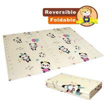Baby Play mat Folding Baby Care XPE playmat Foam Floor Slip Extra Large Foam Reversible Waterproof Portable Double Sides Kids Baby Toddler Outdoor or Indoor Use Non Toxic, Panda(57x76x0.4in)