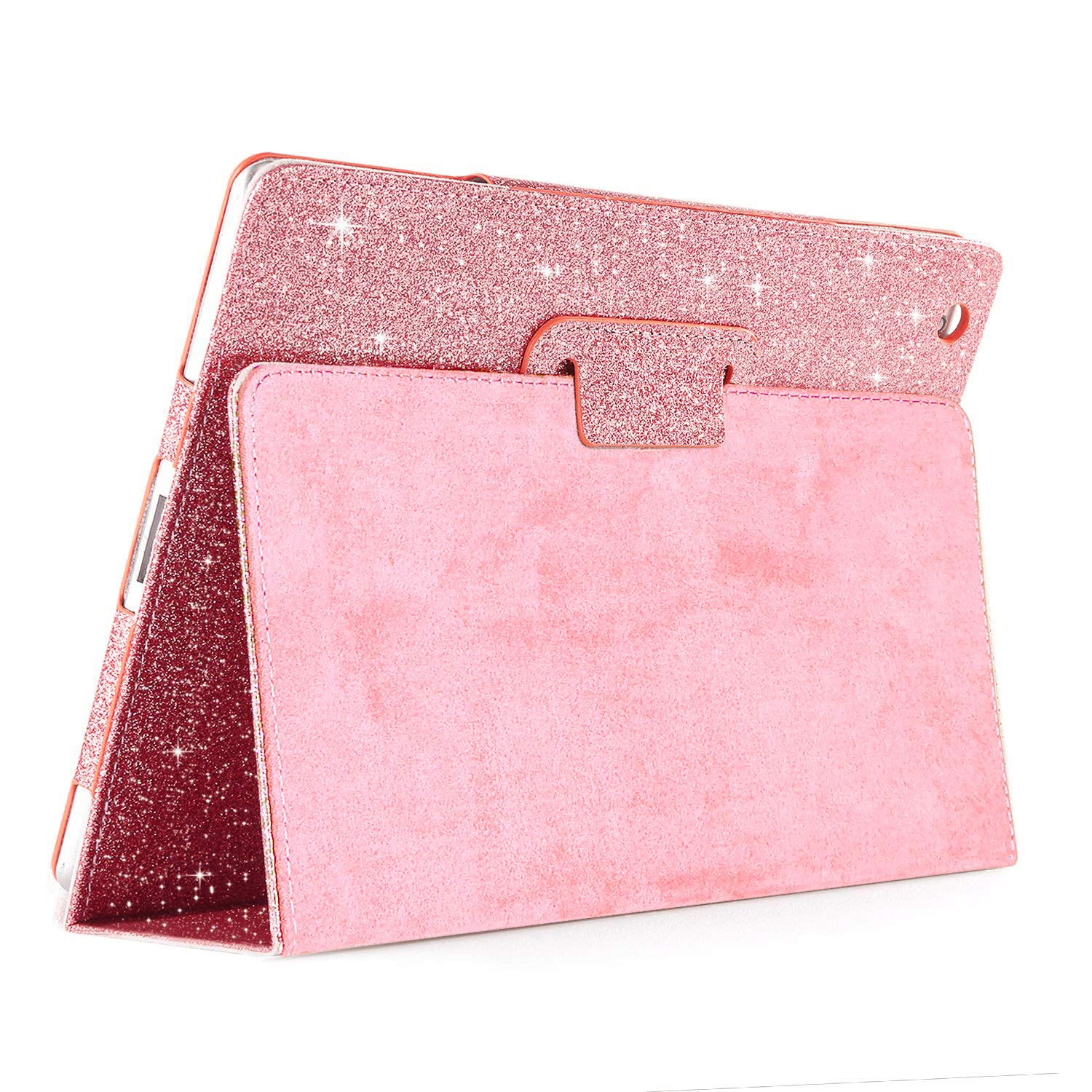 FANSONG New iPad 10.2-inch 2019 Case, iPad Flip Leather Sparkle Glitter Cases with Pen Slot Stand [Auto Sleep/Wake up] Smart Cover for iPad 7th Generation 2019 Case (Pink)