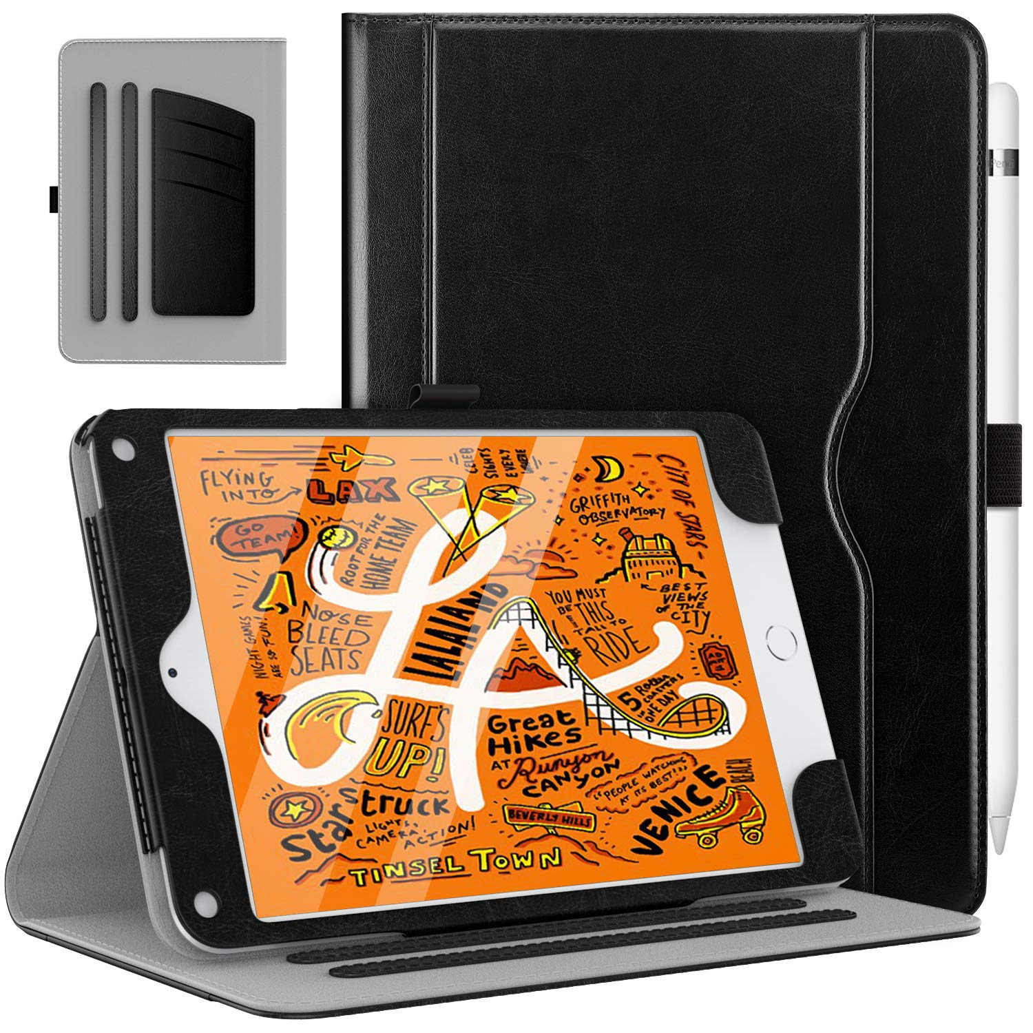 MoKo Case Fit New iPad Mini 5 2019 (5th Generation 7.9 inch) - Slim Folding Stand Folio Cover Case with Auto Wake/Sleep and Document Card Slots, Multiple Viewing Angles - Black