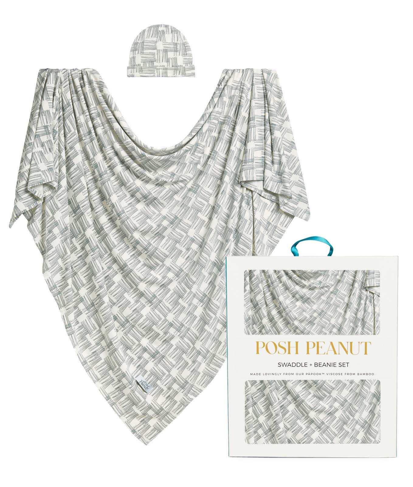 Posh Peanut Baby Boy Swaddle Blanket - Large Premium Knit Viscose from Bamboo - Infant Swaddle Wrap, Receiving Blanket and Beanie Set, Baby Shower Newborn Gift, Registry - Rivers Gray