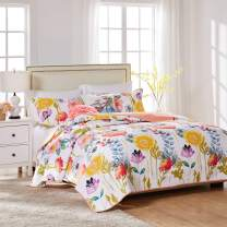 Greenland Home Watercolor Dream Quilt Set, 3-Piece King/Cal King, White