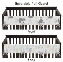 Sweet Jojo Designs Pink and Grey Jungle Sloth Leaf Girl Long Front Crib Rail Guard Baby Teething Cover Protector Wrap - Blush, Turquoise, Gray and Green Botanical Rainforest