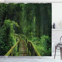 """Ambesonne Jungle Shower Curtain, Freshness Tropical Thailand Forest with Wooden Bridge Foliage Meditation Calm Landscape, Cloth Fabric Bathroom Decor Set with Hooks, 70"""" Long, Green"""