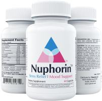 NUPHORIN | Anxiety Supplements and Stress Relief | All Natural Herbal Blends, Ashwagandha Root Powder Extract, Vitamins B, 5HTP, Magnesium, GABA, DMAE, & Chamomile | Made in USA | 60 Vegan Capsules