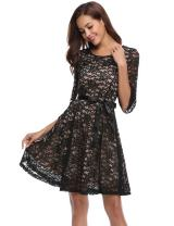 iClosam Women's 3/4 Bell Sleeve Contrast Lace A-line Swing Party Dress with Belt