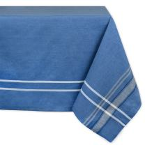 DII 100% Cotton French Stripe Tabletop Collection For Everyday Indoor/Outdoor Dining, Special Occasions or Dinner Parties, Machine Washable, 60 x 104, Blue Chambray