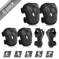 ValueTalks Kids Knee Pads Elbow Pads Set, Safety Adjustable Protective Gear Sets with Wrist Guard for Rollerblading, Skateboard, Cycling, Skating, Bike, Scooter