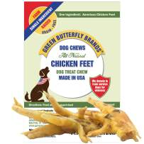 Green Butterfly Brands Dog Chews – Chicken Feet for Dogs Sourced and Made in USA. Single Ingredient All-Natural Dog Dental Chew. Chicken Feet Dog Treats Rich in Glucosamine for Joint Health 10 Pack