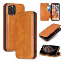 QLTYPRI iPhone 11 Pro Max Case Luxury PU Leather Cover TPU Bumper with Detachable Card Slots Hands-Free Kickstand Magnetic Closure 360 Full Protection Shockproof Flip Folio Wallet Case - Brown