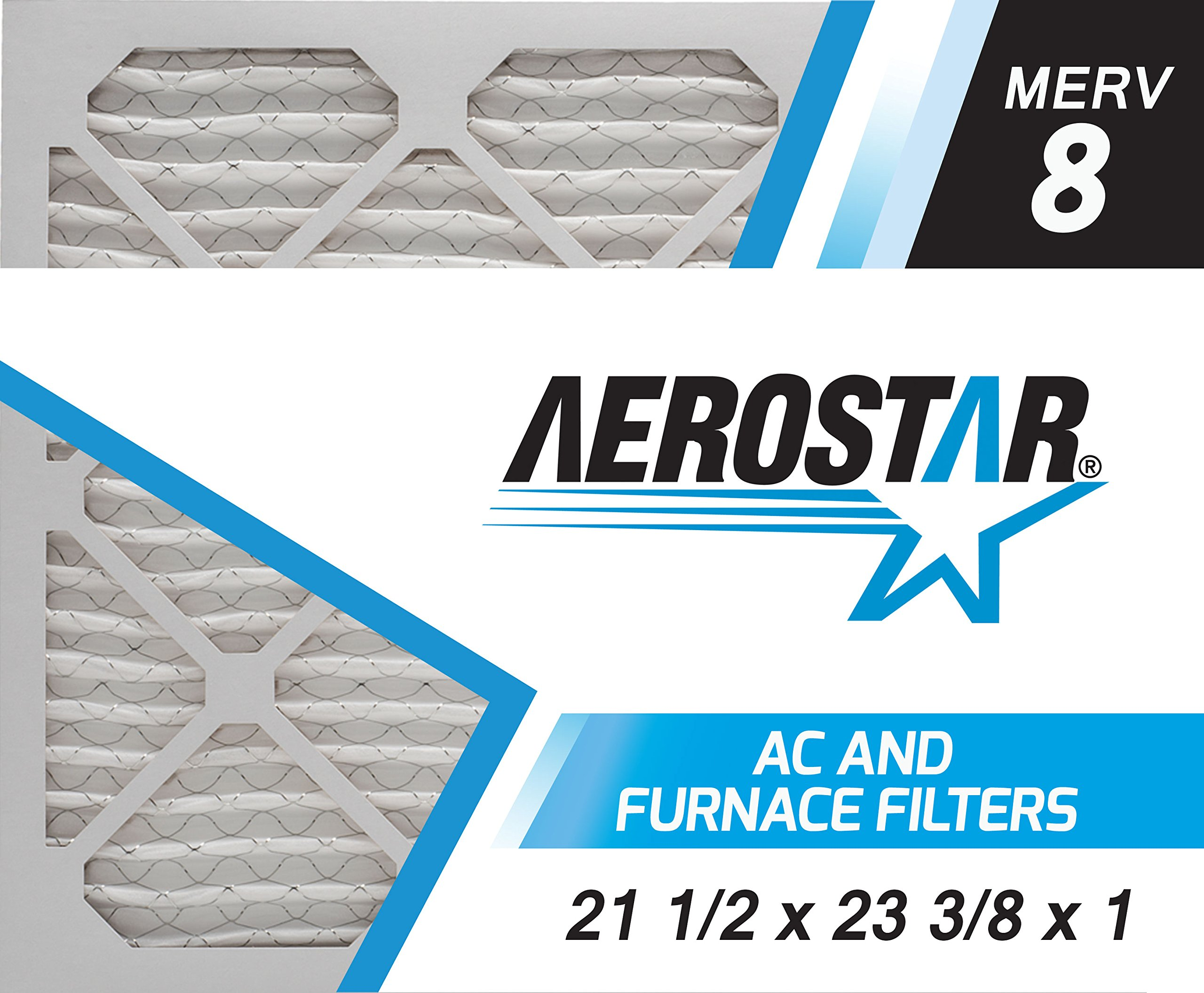Aerostar 21 1/2x23 3/8x1 MERV 8, Pleated Air Filter, 21 1/2 x 23 3/8 x 1, Box of 6, Made in The USA