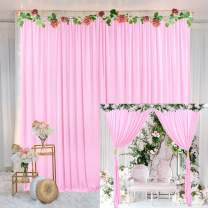 Pink Backdrop Curtain for Parties Baby Shower Birthday Weddings Photography Fabric Drape Backdrop with Golden Curtain Tiebacks 5ft x 10ft (Pack of Two)