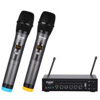 Travor UHF Dual Channel Wireless Handheld Dynamic Microphone with Adjustable Echo, Volume, Multifunctional Receiver for Karaoke Singing, Wedding, Amplifier, Speech, Party, 260ft Range