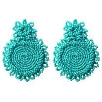 Flyonce Women's Bohemian Statement Earrings Drop Handmade Beaded Earrings for Mom Sister Friend Gift