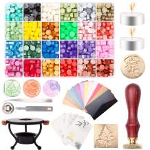 Sealing Wax Beads Kit, GACUYI 624Pcs Octagon Sealing Wax Beads in 24 Colors with Wax Seal Warmer,Spoon,Wax Stamp,Envelope,Tweezers and Candles for Letter Sealing, Wine Packages, Gift Wrapping Crafts