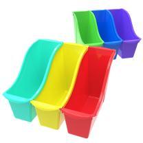 Storex 70113U06C Small Book Bin, 11.75 x 4.5 x 8.5 Inches, Assorted Colors, Case of 6, Multicolor