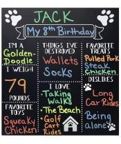 JennyGems - Dog Milestone Chalkboard Sign - Monthly Puppy Photo Props - (Use Actual Dry Chalk) - for Dogs and Puppies- Fur Babies - Dog Birthday Supplies Decorations - Puppy Party