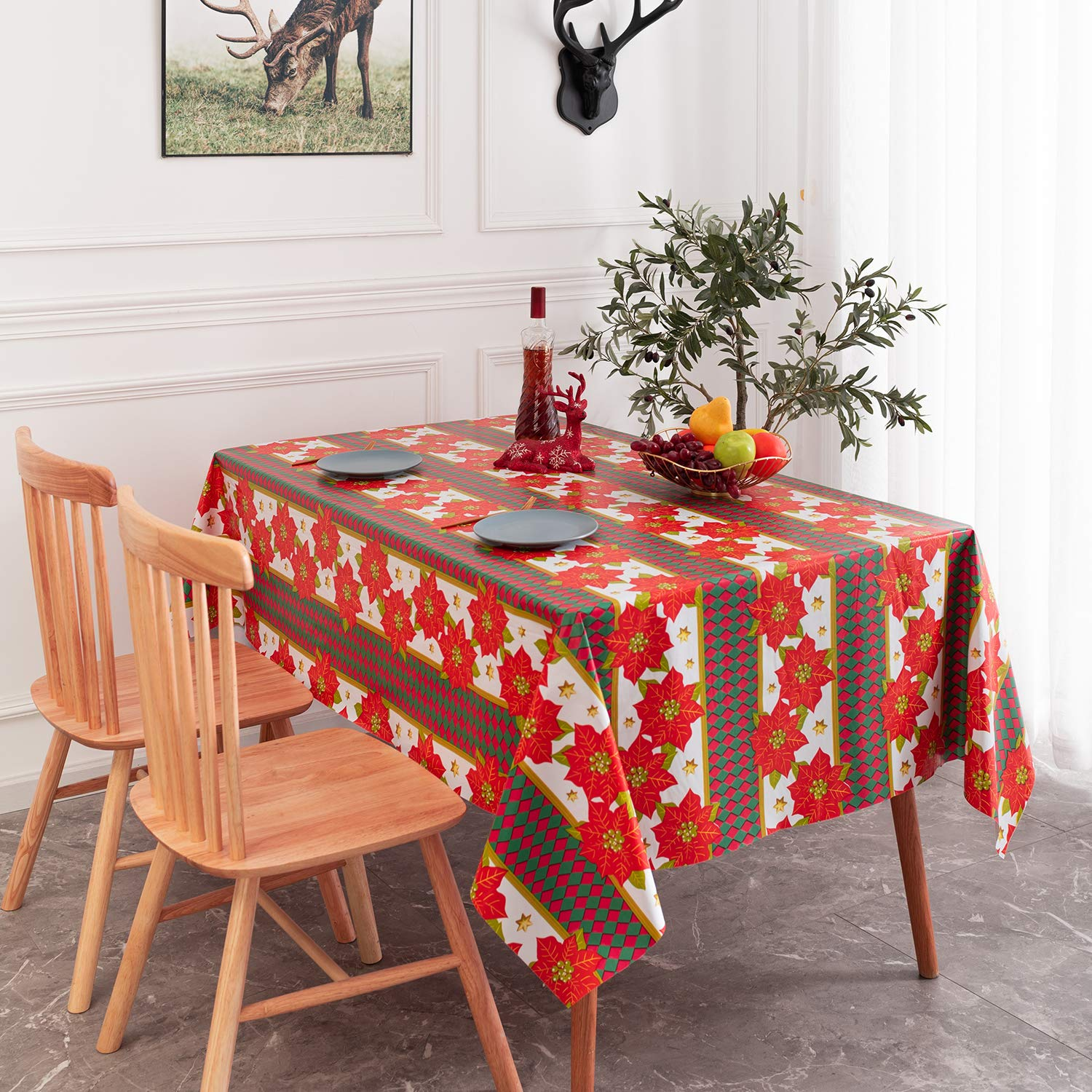 sancua Rectangle PVC Christmas Tablecloth - 60 x 84 Inch - 100% Waterproof Oil Spill Proof Floral Pattern Holiday Vinyl Table Cloth, Wipe Clean Table Cover for Dining Table, Buffet Parties