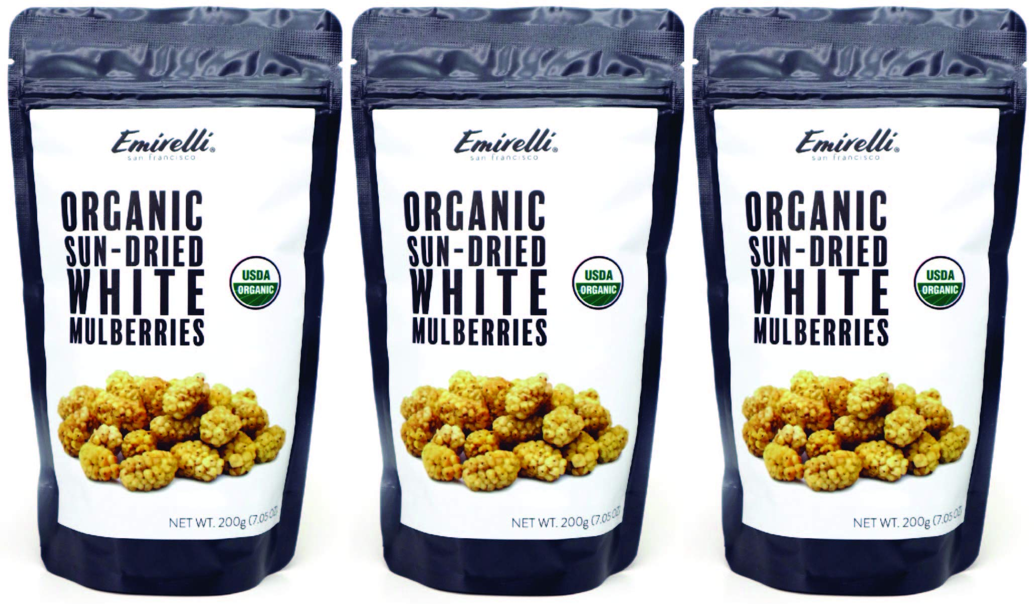 Emirelli Turkish Sun-Dried Mulberries - Delicious Gluten Free Non GMO Vegan Snacks - No Sugar Added - Sunny Fruits, Packed in Resealable Pouch, Healthy and Nutritional (Organic Mulberries, Pack of 3)