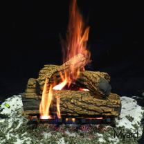 """Myard 15"""" inches Country Oak Fire Vented Gas Logs (LOGS ONLY) for Natural Gas/Liquid Propane Fireplace"""