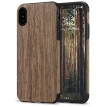 TENDLIN Compatible with iPhone Xs Case/iPhone X Case with Wood Grain Outside Soft TPU Silicone Hybrid Slim Case Compatible with iPhone X and iPhone Xs (Black Rose)