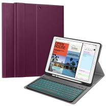 Fintie Keyboard Case for iPad Pro 12.9 2nd Gen 2017/1st Gen 2015, Soft TPU Protective Cover w/Pencil Holder, [7 Color Backlit] Magnetically Detachable Wireless Bluetooth Keyboard (Purple)
