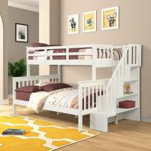 Twin Over Full Bunk Bed Frame for Kids, Mission Style Wood Twin Over Full Size Bed Frame with Stairs and Storage
