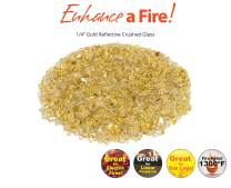 """Enhance A Fire! ¼"""" Reflective Crushed Tempered Fire Glass (10, Gold)"""