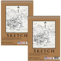 """U.S. Art Supply 11"""" x 14"""" Premium Spiral Bound Sketch Pad, Pad of 100-Sheets, 60 Pound (100gsm) (Pack of 2 Pads)"""