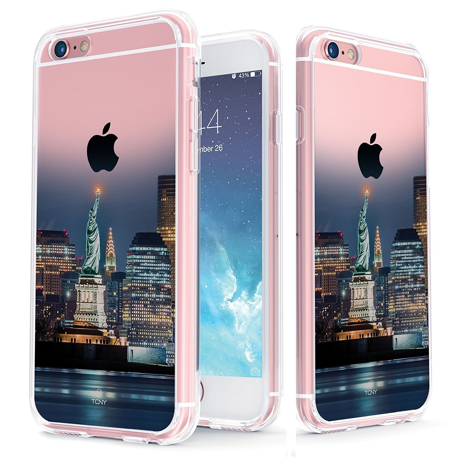 True Color Case Compatible with iPhone 6s Case - Clear-Shield Statue of Liberty [Urban Landmarks Collection] Printed on Clear Back - Soft and Hard Thin Shock Absorbing Protective Bumper Cover