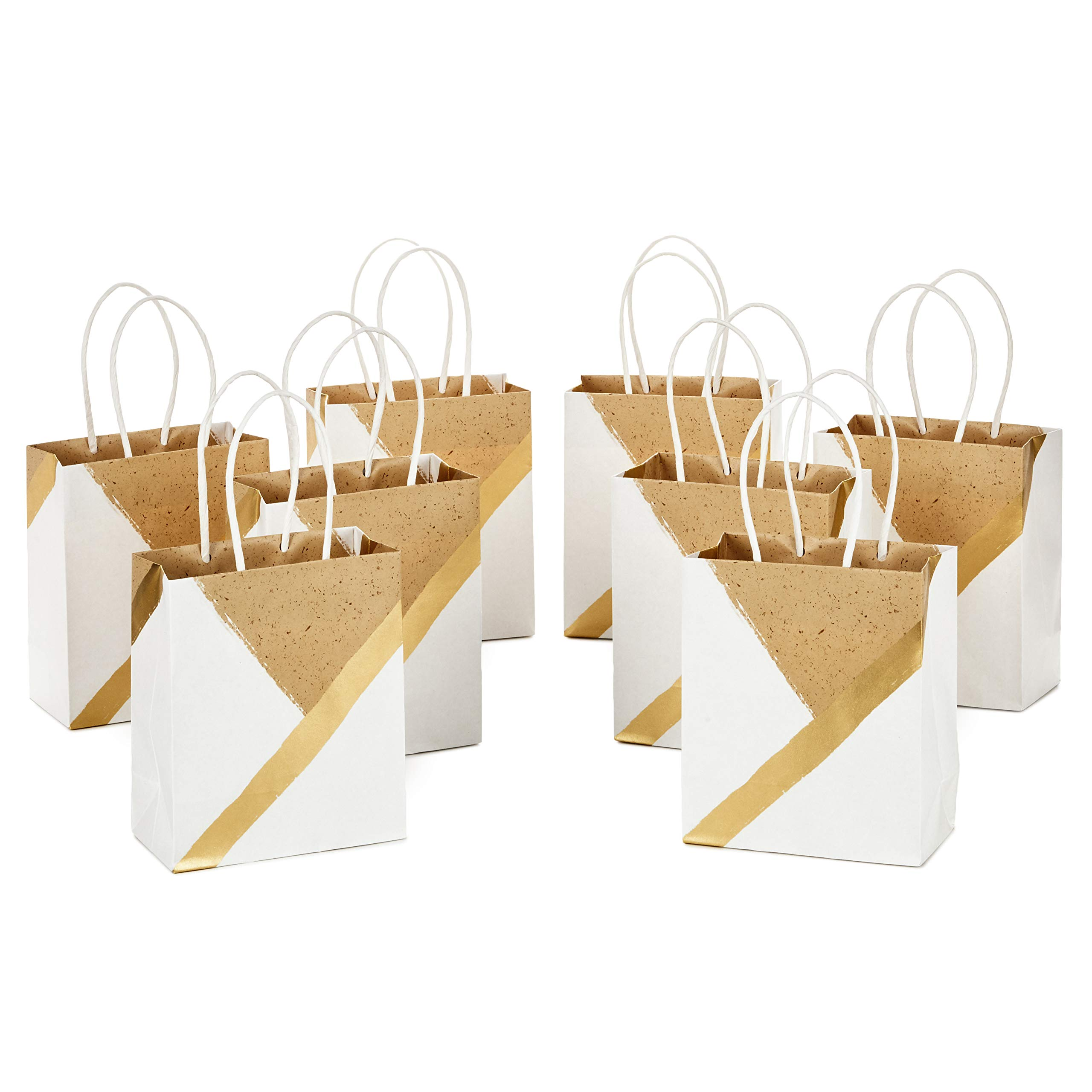 """Hallmark 6"""" Small Paper Gift Bags (Pack of 8 - White and Kraft) for Birthdays, Weddings, Graduations, Baby Showers, Bridal Showers, Care Packages, May Day"""