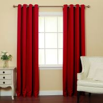 """Best Home Fashion Thermal Insulated Blackout Curtains - Stainless Steel Nickel Grommet Top - Cardinal Red - 52"""" W x 96"""" L - (Set of 2 Panels)"""